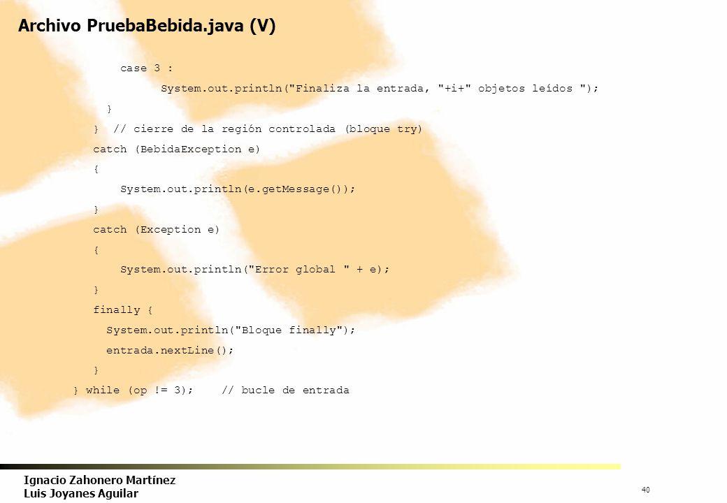 41 Ignacio Zahonero Martínez Luis Joyanes Aguilar Archivo PruebaBebida.java (VI) // se recorren los contenedores System.out.println( Recorre el array con un bucle ); for (int j = 0; j < i; j++) System.out.println(b[j].toString()); // no es necesario llamar a toString() // se recorren el contenedor ArraList Iterator it; it = ab.iterator(); // inicializa System.out.println( Itera por el contenedor ); while (it.hasNext()) { System.out.println(it.next()); it.remove(); // como ejemplo, no es necesario } System.out.println( Recorre el array con un bucle para liberar objetos ); for (int j = 0; j < i; j++) b[j] = null; System.gc(); } // cierra bloque de método main() } // fin de clase