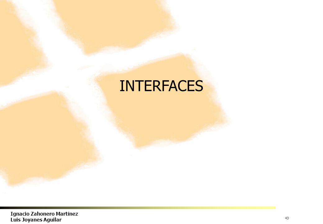 44 Ignacio Zahonero Martínez Luis Joyanes Aguilar INTERFACE(I) Java incorpora una construcción del lenguaje, llamada interface, que permite declarar un conjunto de constantes y de cabeceras de métodos abstractos.