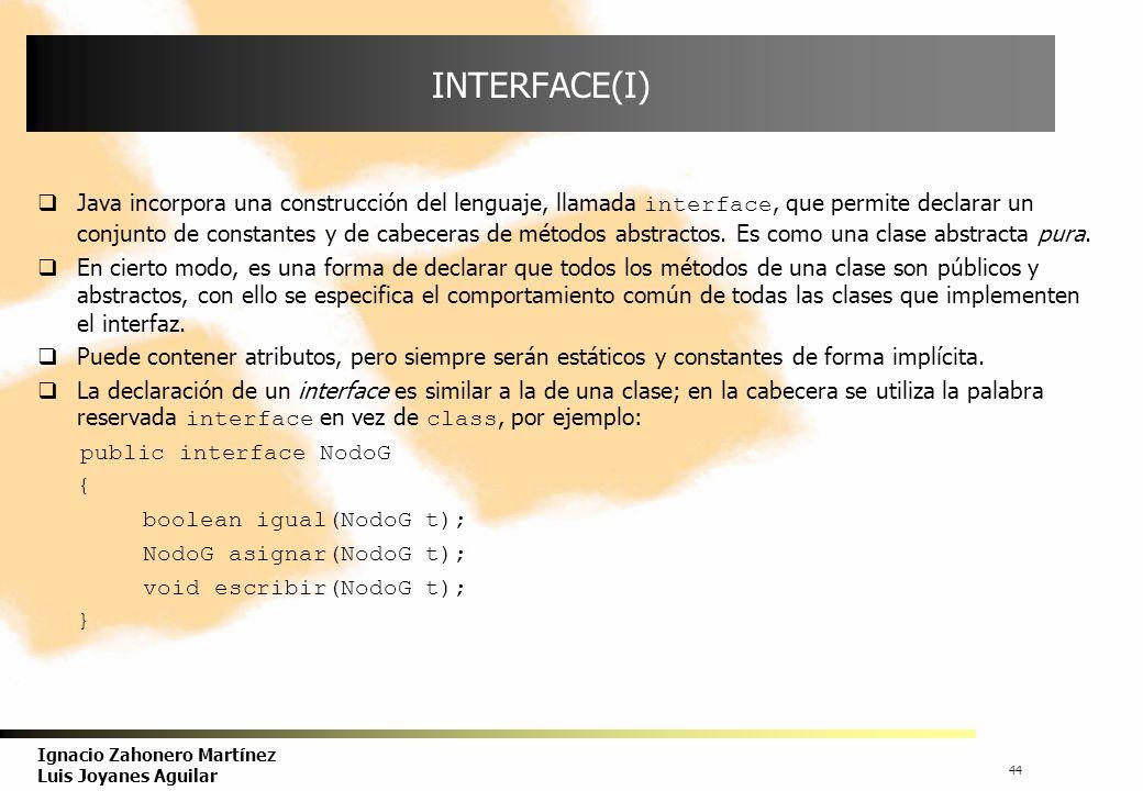 45 Ignacio Zahonero Martínez Luis Joyanes Aguilar INTERFACE(II) Sintaxis: acceso interface NombreInterface { constante 1 ;...