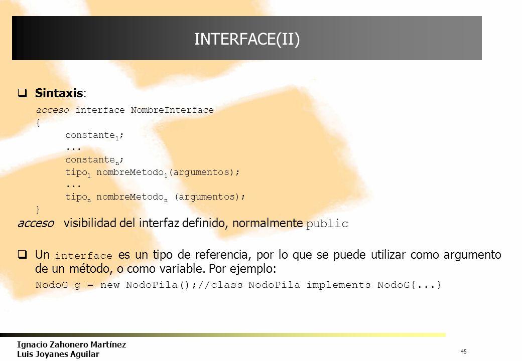 46 Ignacio Zahonero Martínez Luis Joyanes Aguilar IMPLEMENTACIÓN DE UN INTERFACE El interface especifica el comportamiento común que tiene un conjunto de clases.