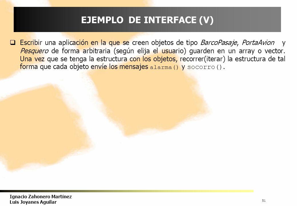 52 Ignacio Zahonero Martínez Luis Joyanes Aguilar MÚLTIPLES INTERFACE,s Una clase puede implementar más de un interface, puede tener el comportamiento común de varios interface.