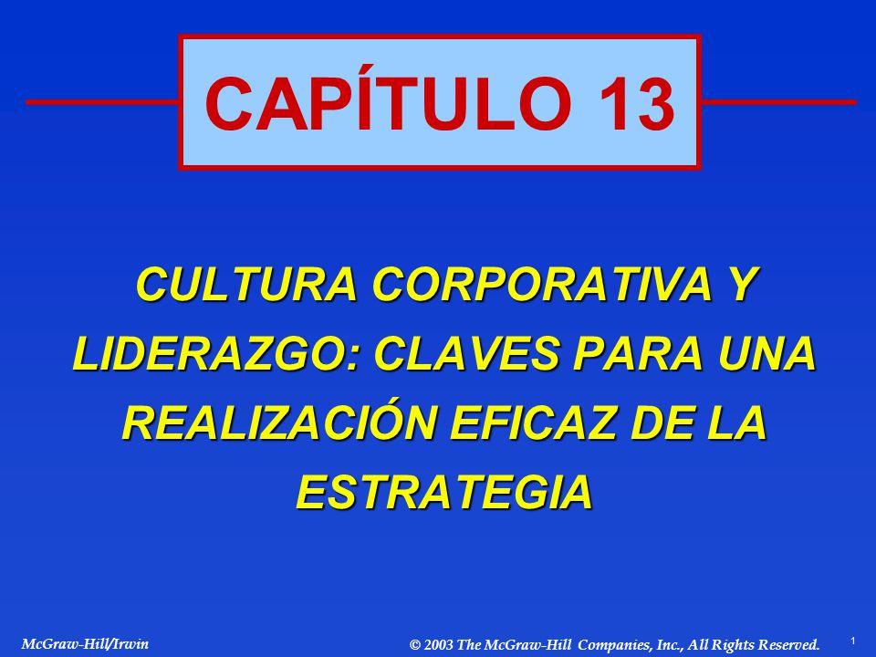 1 McGraw-Hill/Irwin © 2003 The McGraw-Hill Companies, Inc., All Rights Reserved. CAPÍTULO 13 CULTURA CORPORATIVA Y LIDERAZGO: CLAVES PARA UNA REALIZAC