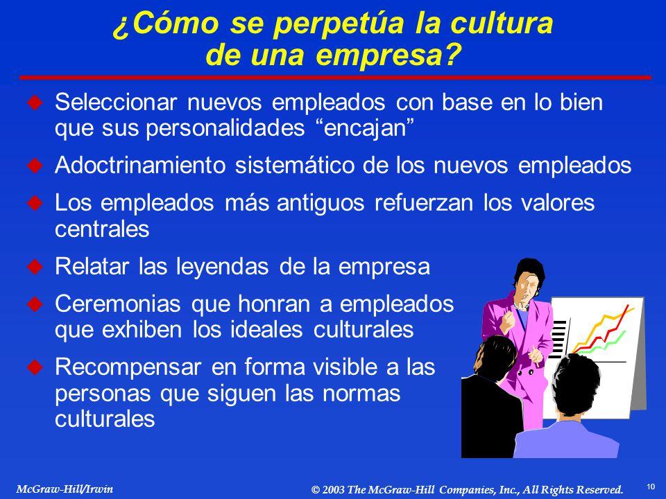 10 McGraw-Hill/Irwin © 2003 The McGraw-Hill Companies, Inc., All Rights Reserved. ¿Cómo se perpetúa la cultura de una empresa? Seleccionar nuevos empl