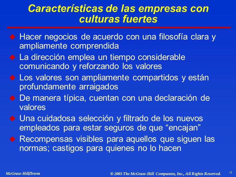 17 McGraw-Hill/Irwin © 2003 The McGraw-Hill Companies, Inc., All Rights Reserved. Características de las empresas con culturas fuertes Hacer negocios