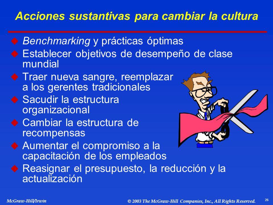 26 McGraw-Hill/Irwin © 2003 The McGraw-Hill Companies, Inc., All Rights Reserved. Acciones sustantivas para cambiar la cultura Benchmarking y práctica
