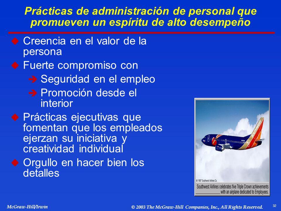 32 McGraw-Hill/Irwin © 2003 The McGraw-Hill Companies, Inc., All Rights Reserved. Prácticas de administración de personal que promueven un espíritu de