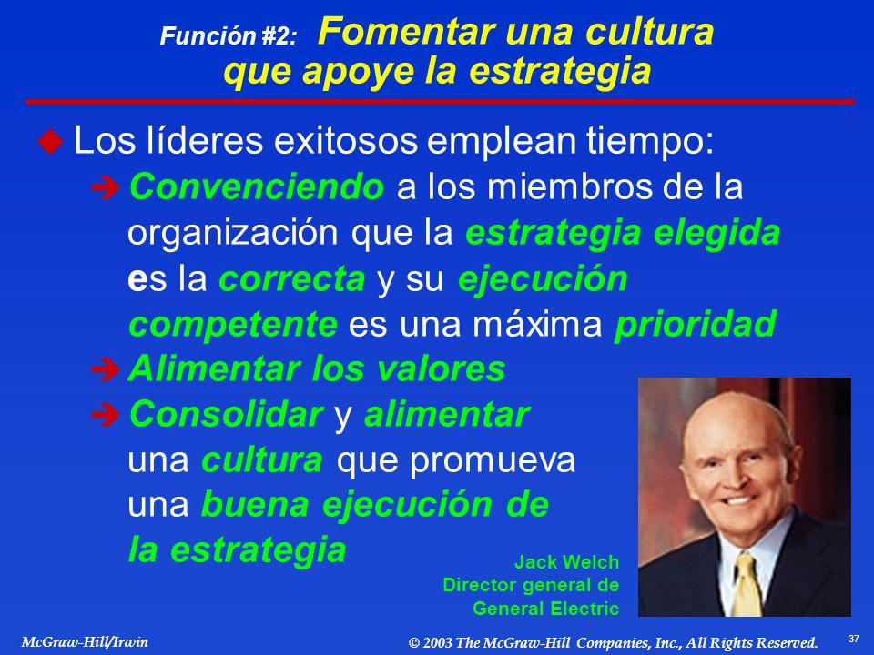 37 McGraw-Hill/Irwin © 2003 The McGraw-Hill Companies, Inc., All Rights Reserved. Función #2: Fomentar una cultura que apoye la estrategia Los líderes