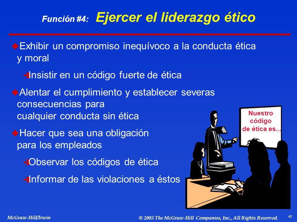 42 McGraw-Hill/Irwin © 2003 The McGraw-Hill Companies, Inc., All Rights Reserved. Función #4: Ejercer el liderazgo ético Exhibir un compromiso inequív