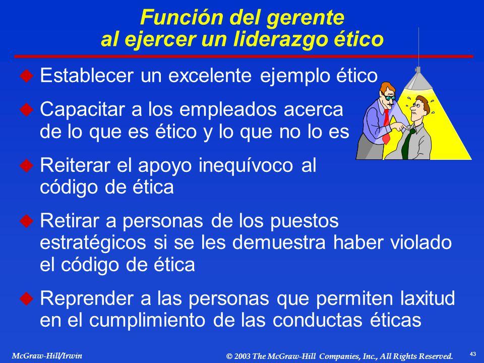 43 McGraw-Hill/Irwin © 2003 The McGraw-Hill Companies, Inc., All Rights Reserved. Función del gerente al ejercer un liderazgo ético Establecer un exce