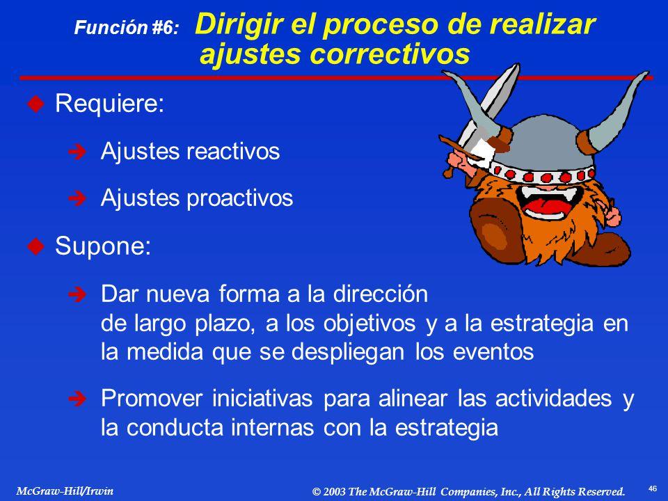 46 McGraw-Hill/Irwin © 2003 The McGraw-Hill Companies, Inc., All Rights Reserved. Función #6: Dirigir el proceso de realizar ajustes correctivos Requi