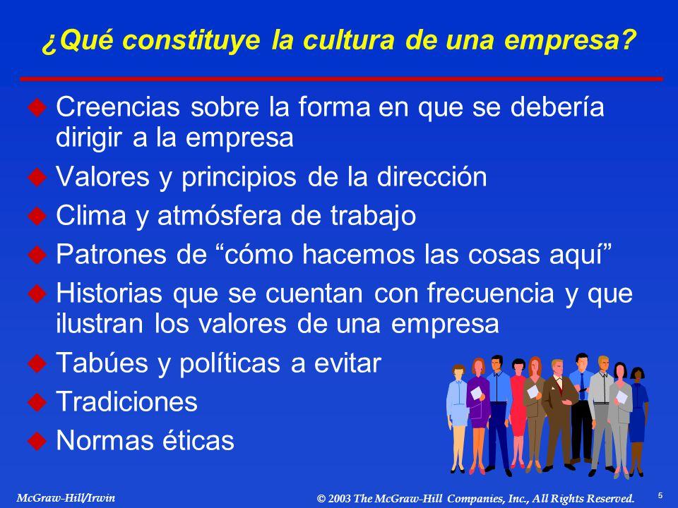 5 McGraw-Hill/Irwin © 2003 The McGraw-Hill Companies, Inc., All Rights Reserved. ¿Qué constituye la cultura de una empresa? Creencias sobre la forma e