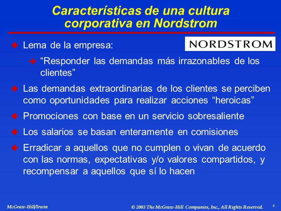 8 McGraw-Hill/Irwin © 2003 The McGraw-Hill Companies, Inc., All Rights Reserved. Características de una cultura corporativa en Nordstrom Lema de la em