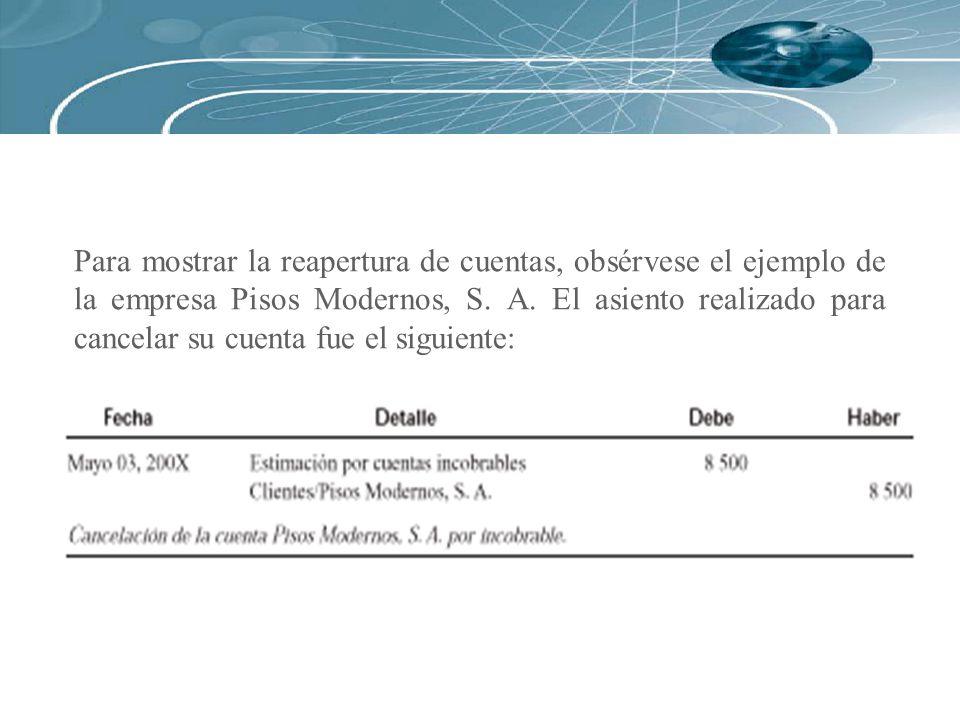 Para mostrar la reapertura de cuentas, obsérvese el ejemplo de la empresa Pisos Modernos, S. A. El asiento realizado para cancelar su cuenta fue el si