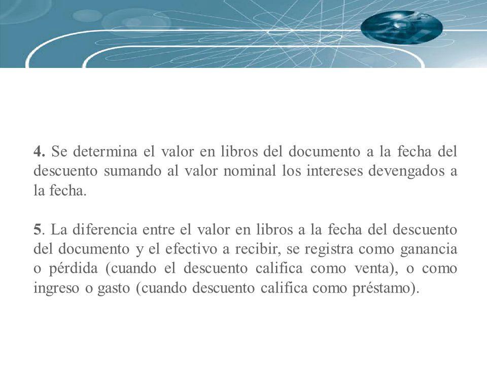 4. Se determina el valor en libros del documento a la fecha del descuento sumando al valor nominal los intereses devengados a la fecha. 5. La diferenc