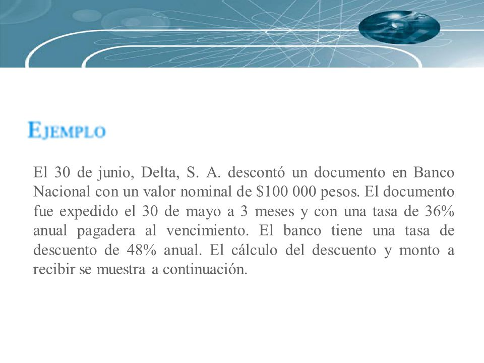 El 30 de junio, Delta, S. A. descontó un documento en Banco Nacional con un valor nominal de $100 000 pesos. El documento fue expedido el 30 de mayo a