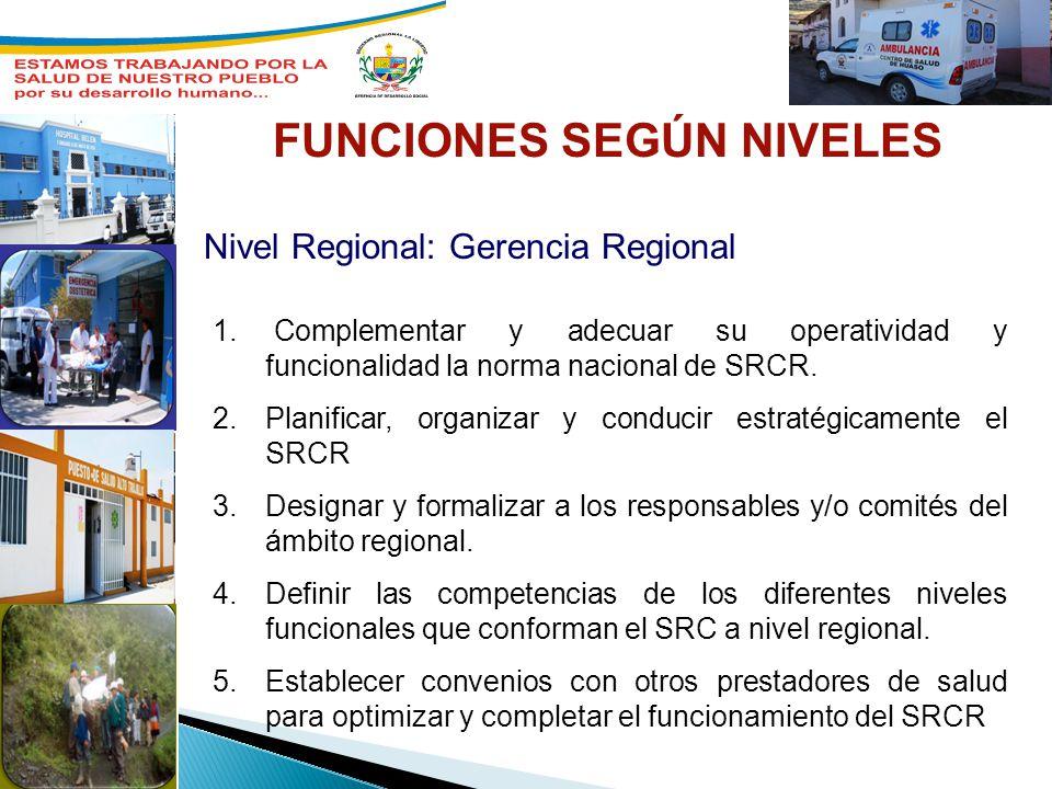 Nivel Regional: Gerencia Regional FUNCIONES SEGÚN NIVELES 1. Complementar y adecuar su operatividad y funcionalidad la norma nacional de SRCR. 2.Plani