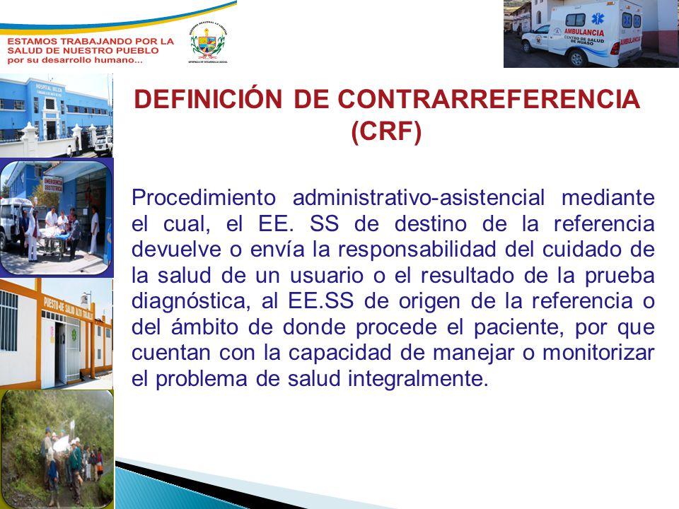 Procedimiento administrativo-asistencial mediante el cual, el EE. SS de destino de la referencia devuelve o envía la responsabilidad del cuidado de la