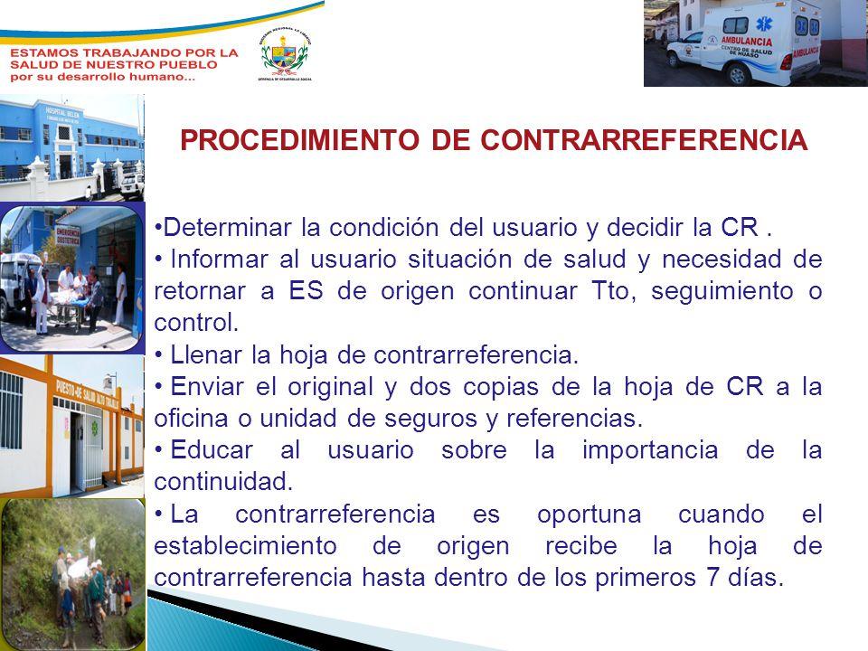 PROCEDIMIENTO DE CONTRARREFERENCIA Determinar la condición del usuario y decidir la CR. Informar al usuario situación de salud y necesidad de retornar