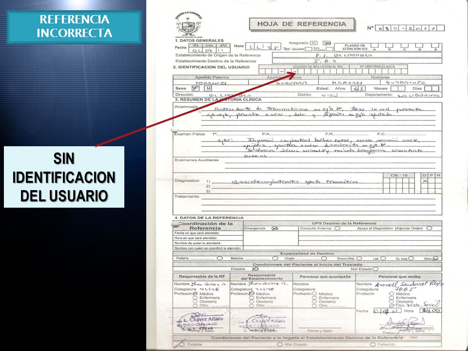 SIN IDENTIFICACION DEL USUARIO REFERENCIA INCORRECTA