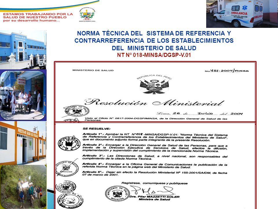 NORMA TÉCNICA DEL SISTEMA DE REFERENCIA Y CONTRARREFERENCIA DE LOS ESTABLECIMIENTOS DEL MINISTERIO DE SALUD NT Nº 018-MINSA/DGSP-V.01