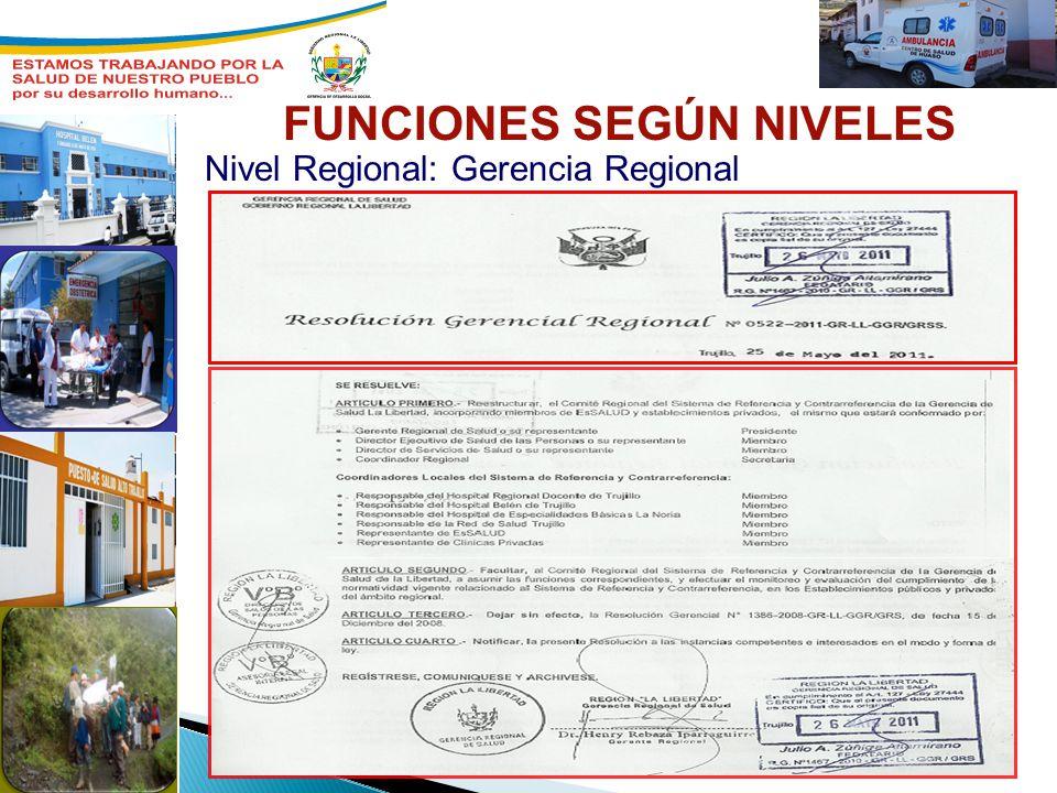 Nivel Regional: Gerencia Regional FUNCIONES SEGÚN NIVELES