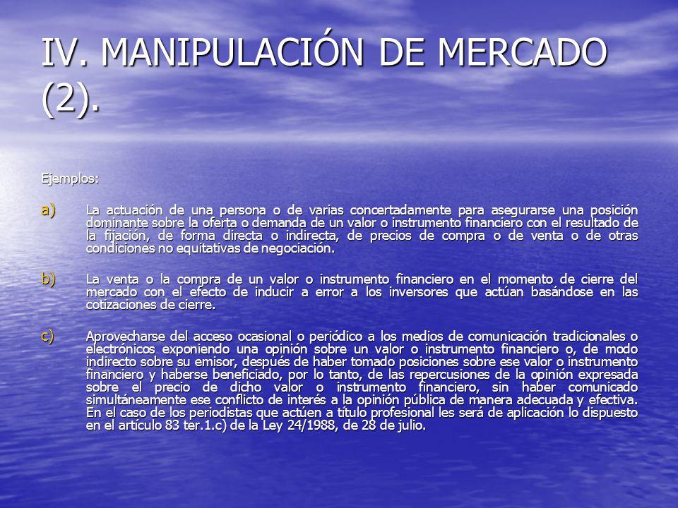 IV. MANIPULACIÓN DE MERCADO (2). Ejemplos: a) La actuación de una persona o de varias concertadamente para asegurarse una posición dominante sobre la