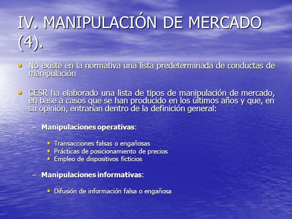 IV. MANIPULACIÓN DE MERCADO (4). No existe en la normativa una lista predeterminada de conductas de manipulación No existe en la normativa una lista p
