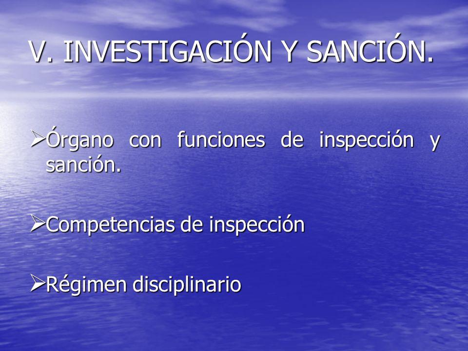 V. INVESTIGACIÓN Y SANCIÓN. Órgano con funciones de inspección y sanción. Competencias de inspección Régimen disciplinario