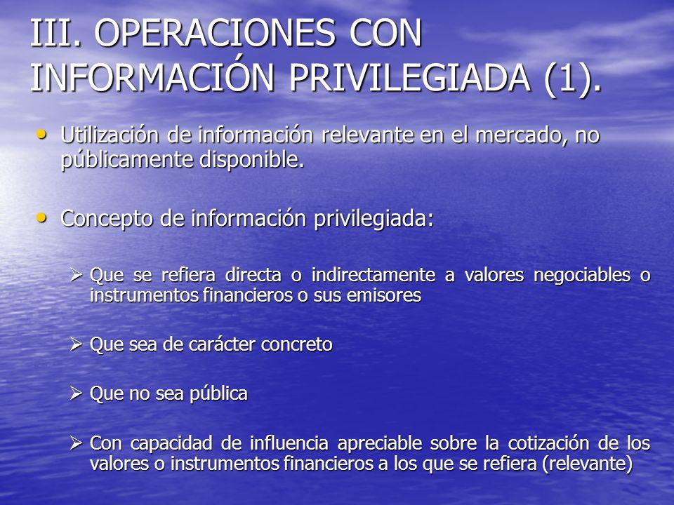 III. OPERACIONES CON INFORMACIÓN PRIVILEGIADA (1). Utilización de información relevante en el mercado, no públicamente disponible. Utilización de info