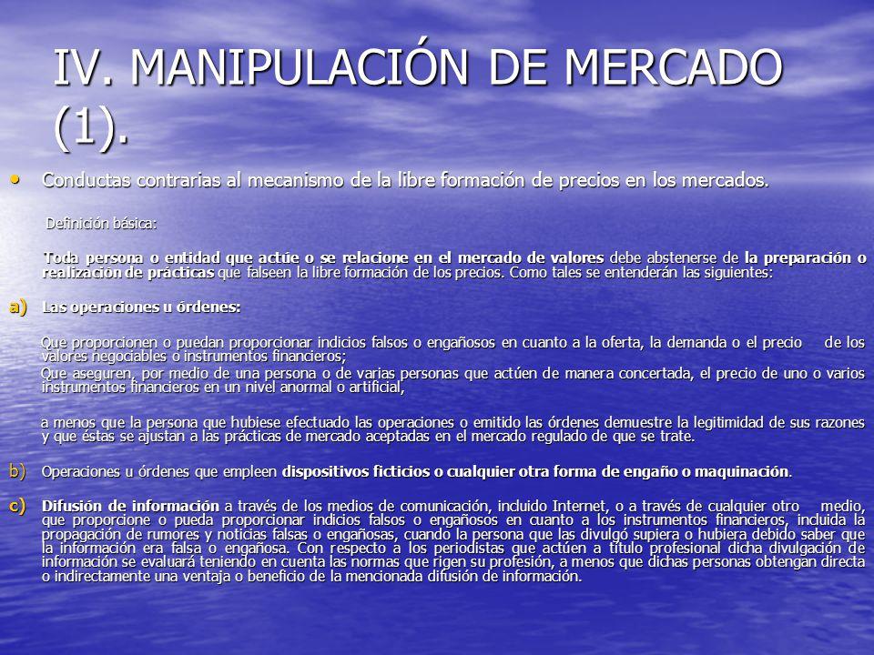 IV. MANIPULACIÓN DE MERCADO (1). Conductas contrarias al mecanismo de la libre formación de precios en los mercados. Conductas contrarias al mecanismo