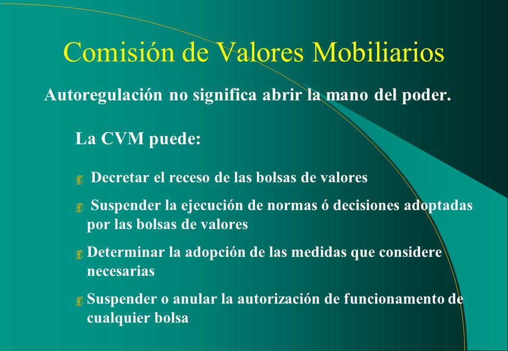 Comisión de Valores Mobiliarios Las bolsas de valores y las entidades de OTC organizado 4Son entidades privadas, bajo la supervisión de la CVM 4Son ór