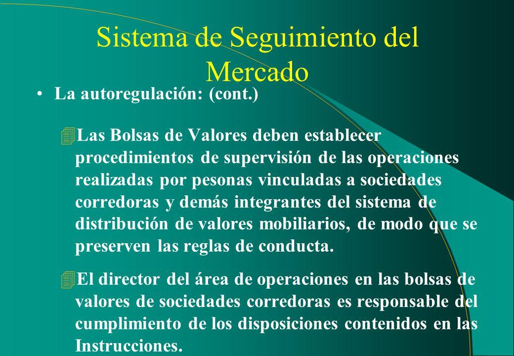 Sistema de Seguimiento del Mercado La autoregulación: (cont.) 4Las sociedades corredoras deben instituir procedimentos de control adecuados para el cu