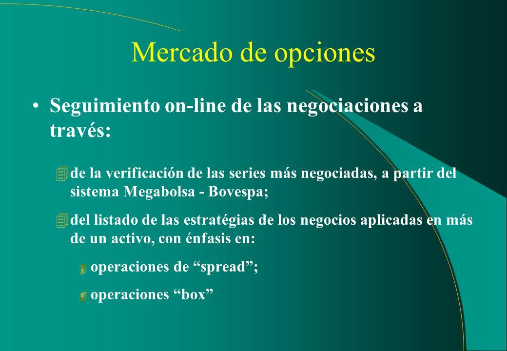 Mercado a la vista Seguimiento off-line: (cont.) 4seguimiento diario de las noticias relativas a las empresas listadas en Bolsa de Valores a partir: 4
