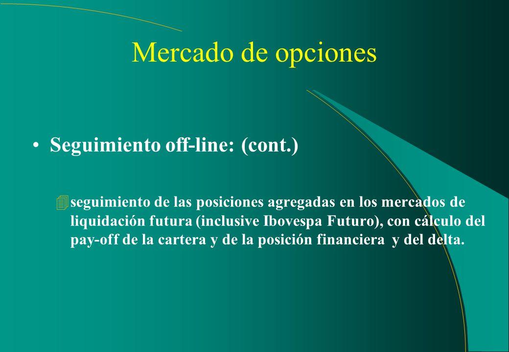 Mercado de opciones (cont.) Seguimiento off-line: 4identificación de los sujetos finales de las operaciones aplicando estrategias; 4evaluación de la c