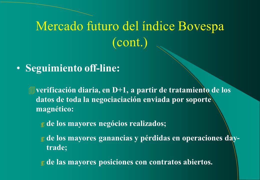 Mercado futuro del índice Bovespa Seguimiento on-line: 4comparación instantánea del valor del índice futuro vis-a-vis con el valor en el mercado a la