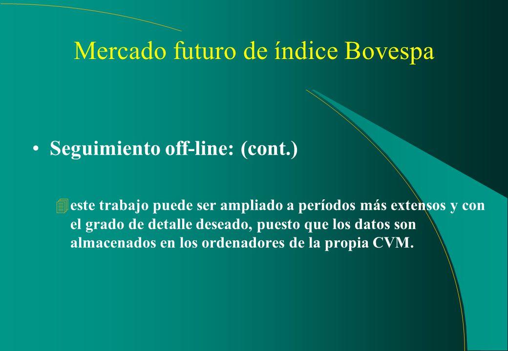 Mercado futuro del índice Bovespa (cont.) Seguimiento off-line: 4verificación diaria, en D+1, a partir de tratamiento de los datos de toda la negociac