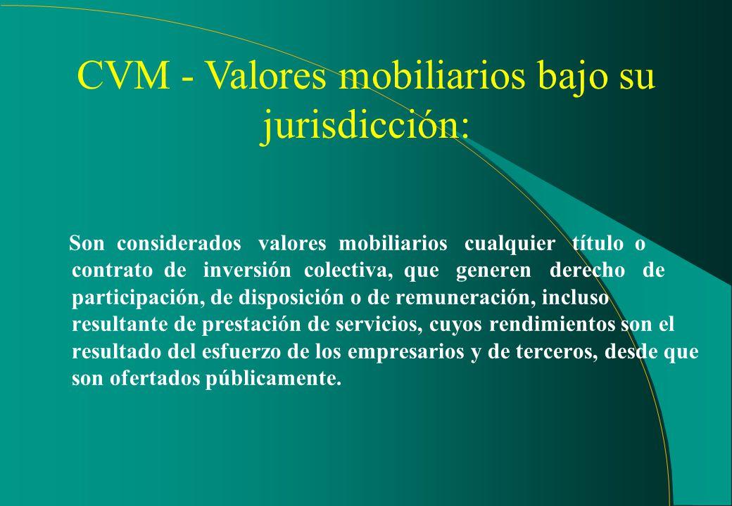 4Certificados de inversión en obras audiovisuales 4Certificados de recibos imobiliarios - CRI 4Derivados sobre cualquier valor mobiliario (índices de