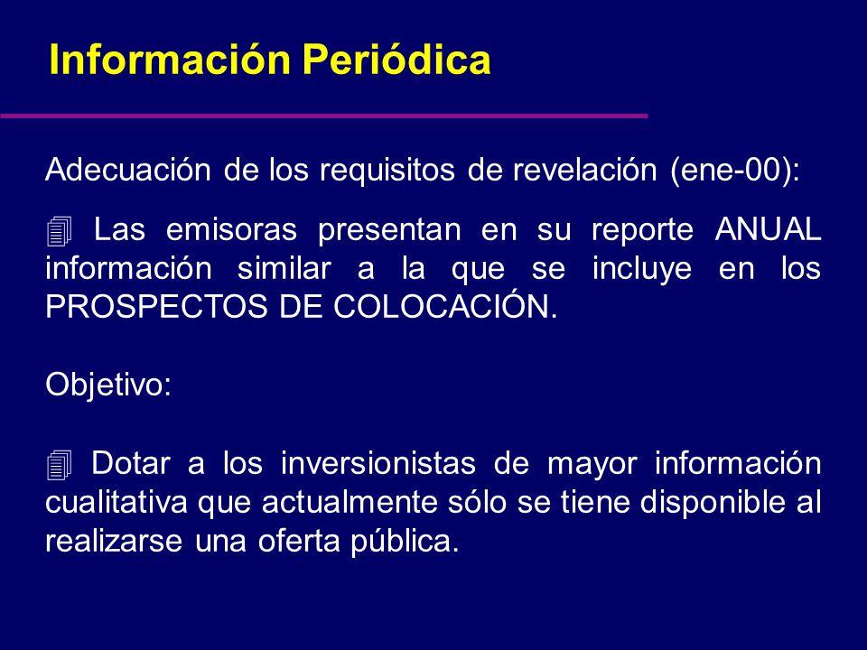 Información Periódica Adecuación de los requisitos de revelación (ene-00): Las emisoras presentan en su reporte ANUAL información similar a la que se incluye en los PROSPECTOS DE COLOCACIÓN.