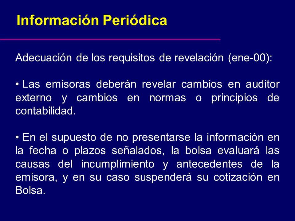 Información Periódica Adecuación de los requisitos de revelación (ene-00): Las emisoras deberán revelar cambios en auditor externo y cambios en normas