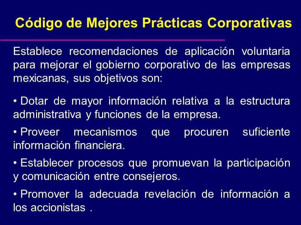 Código de Mejores Prácticas Corporativas Establece recomendaciones de aplicación voluntaria para mejorar el gobierno corporativo de las empresas mexicanas, sus objetivos son: Dotar de mayor información relativa a la estructura administrativa y funciones de la empresa.