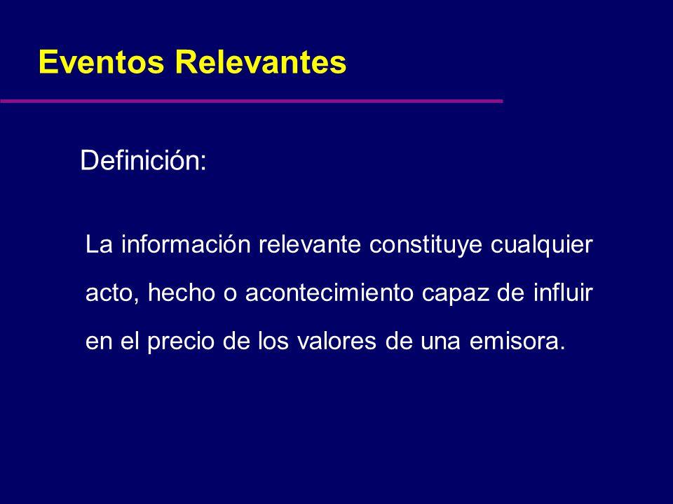 Eventos Relevantes La información relevante constituye cualquier acto, hecho o acontecimiento capaz de influir en el precio de los valores de una emisora.