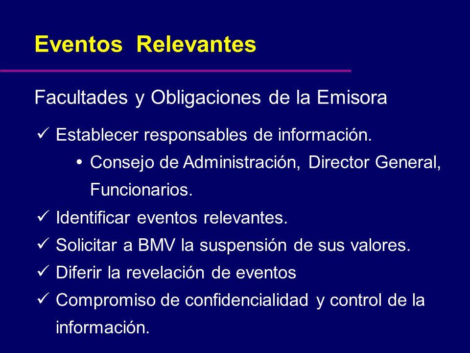 Establecer responsables de información. Consejo de Administración, Director General, Funcionarios.