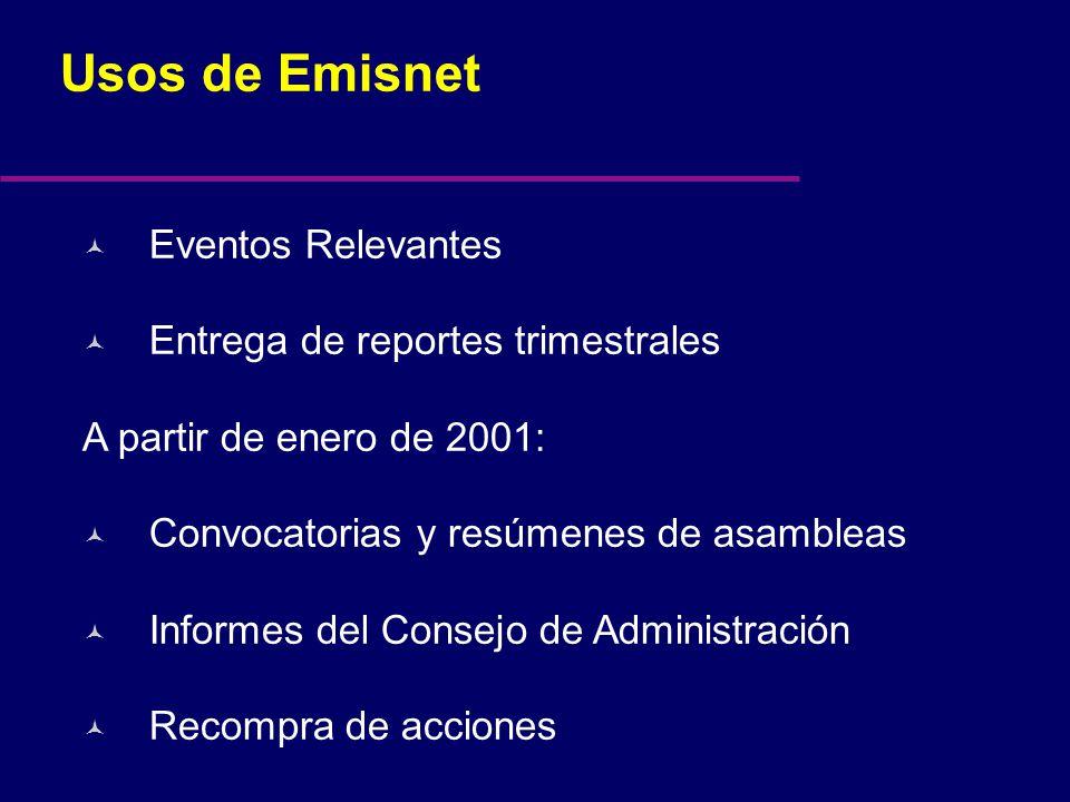 Usos de Emisnet © Eventos Relevantes © Entrega de reportes trimestrales A partir de enero de 2001: © Convocatorias y resúmenes de asambleas © Informes del Consejo de Administración © Recompra de acciones