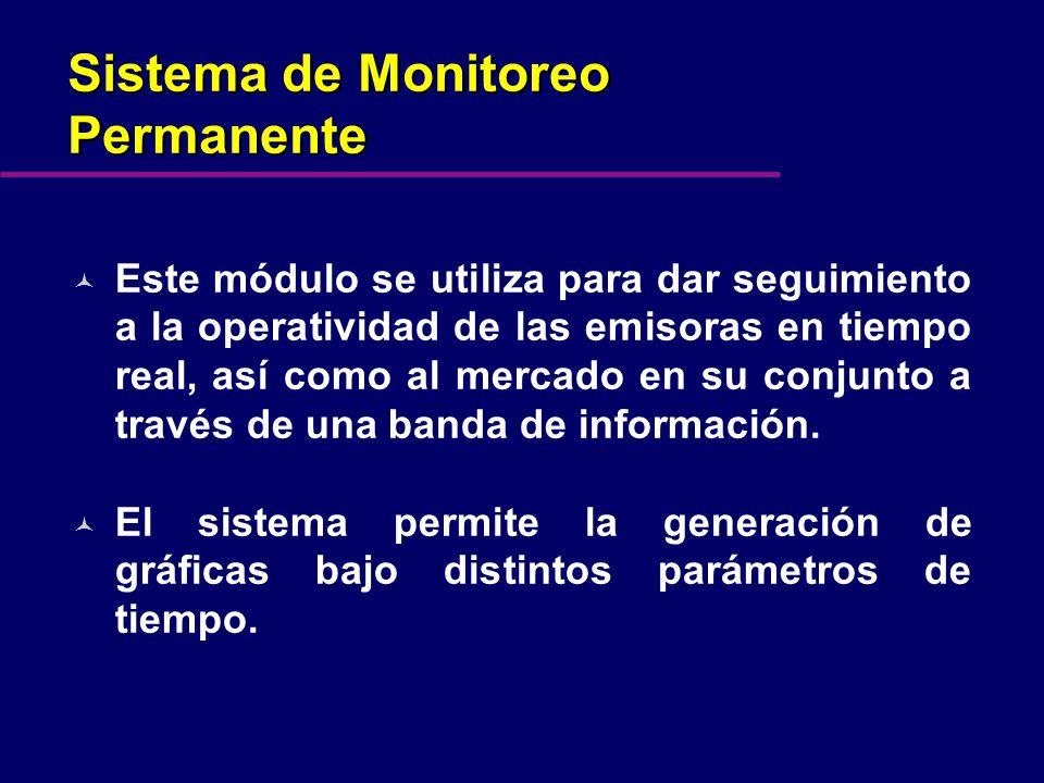 Sistema de Monitoreo Permanente © Este módulo se utiliza para dar seguimiento a la operatividad de las emisoras en tiempo real, así como al mercado en su conjunto a través de una banda de información.