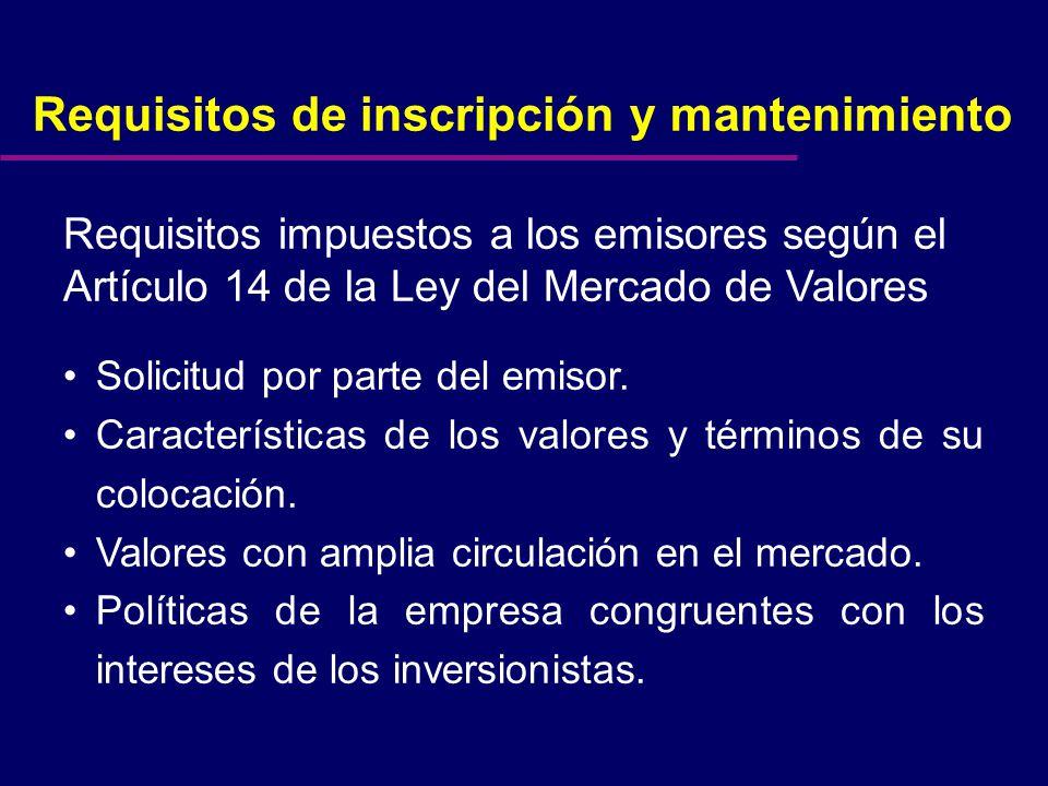 Requisitos mínimos para la inscripción y mantenimiento Circular 11-31 (vigencia enero 2001)