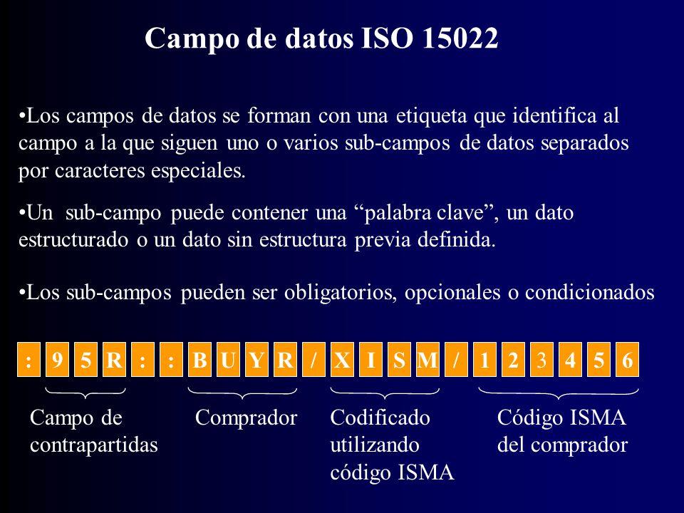:5::BUY9R/XISM/123456R Campo de datos ISO 15022 Los campos de datos se forman con una etiqueta que identifica al campo a la que siguen uno o varios sub-campos de datos separados por caracteres especiales.