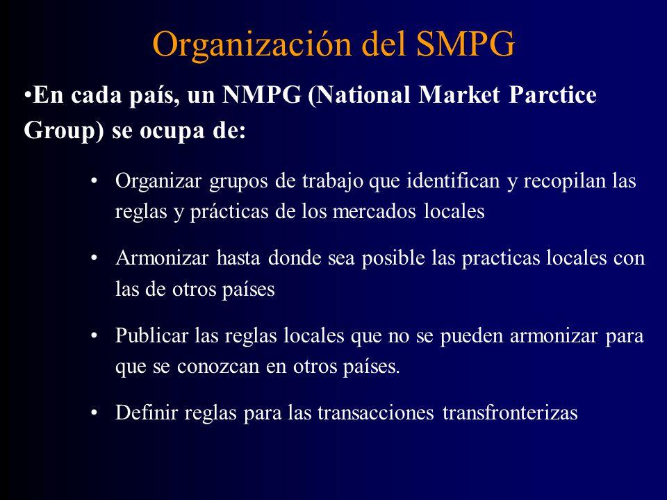 Organización del SMPG Organizar grupos de trabajo que identifican y recopilan las reglas y prácticas de los mercados locales Armonizar hasta donde sea posible las practicas locales con las de otros países Publicar las reglas locales que no se pueden armonizar para que se conozcan en otros países.