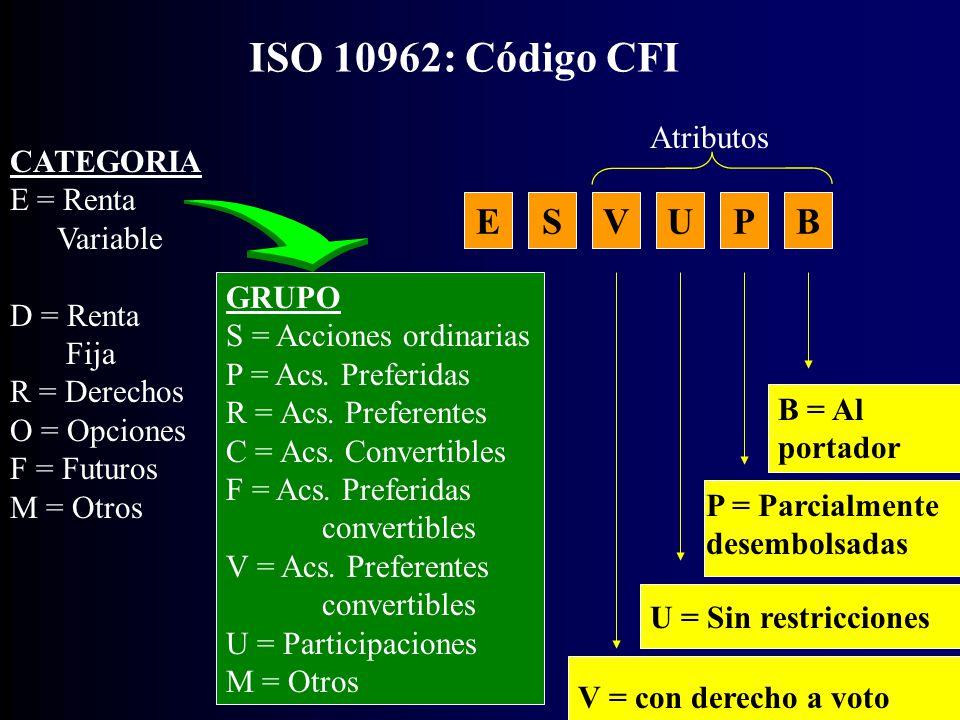 CATEGORIA E = Renta Variable D = Renta Fija R = Derechos O = Opciones F = Futuros M = Otros ISO 10962: Código CFI GRUPO S = Acciones ordinarias P = Acs.