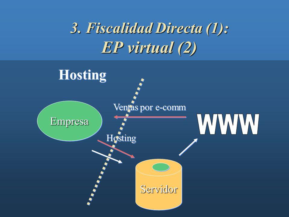 3. Fiscalidad Directa (1): EP virtual (1) EmpresaEmpresa ServidorServidor Servidor Propio Ventas por e-comm