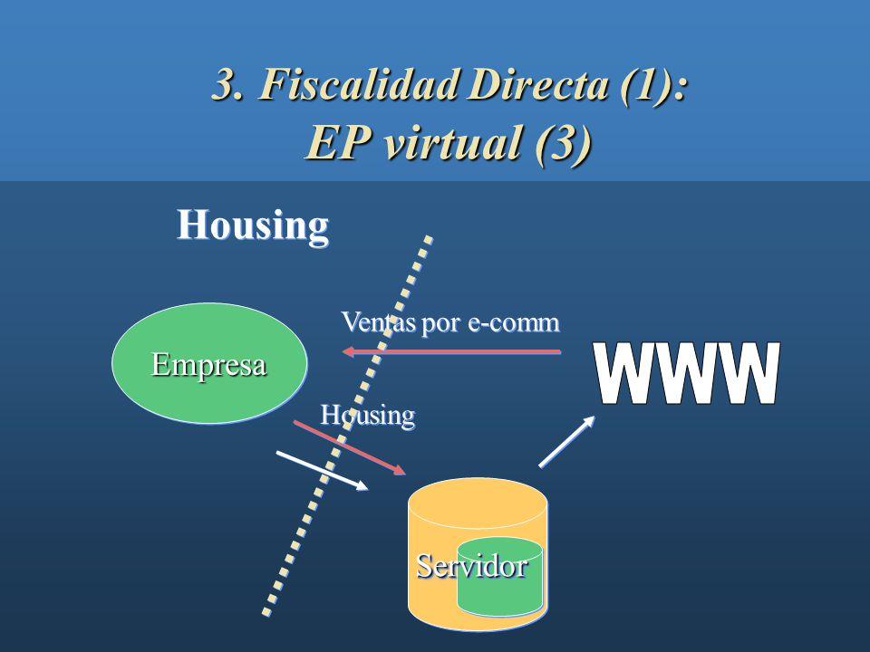 3. Fiscalidad Directa (1): EP virtual (2) EmpresaEmpresa ServidorServidor Hosting Ventas por e-comm Hosting
